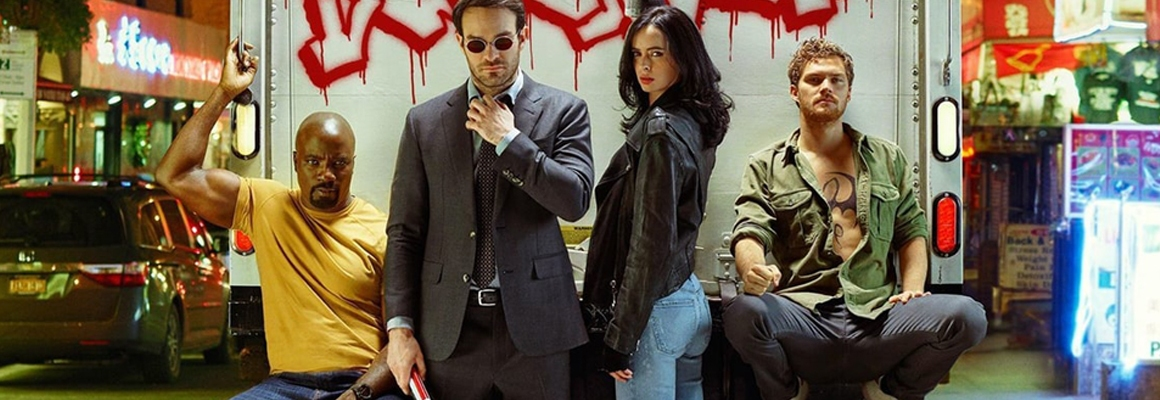 People are really excited about Netflix's The Defenders, despite Marvel's repetitive storytelling. (L to R: Mike Colter as Luke Cage, Charlie Cox as Daredevil, Krysten Ritter as Jessica Jones, and Finn Jones as Iron Fist).